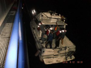 Cuban crew being rescued by R/V Proteus.
