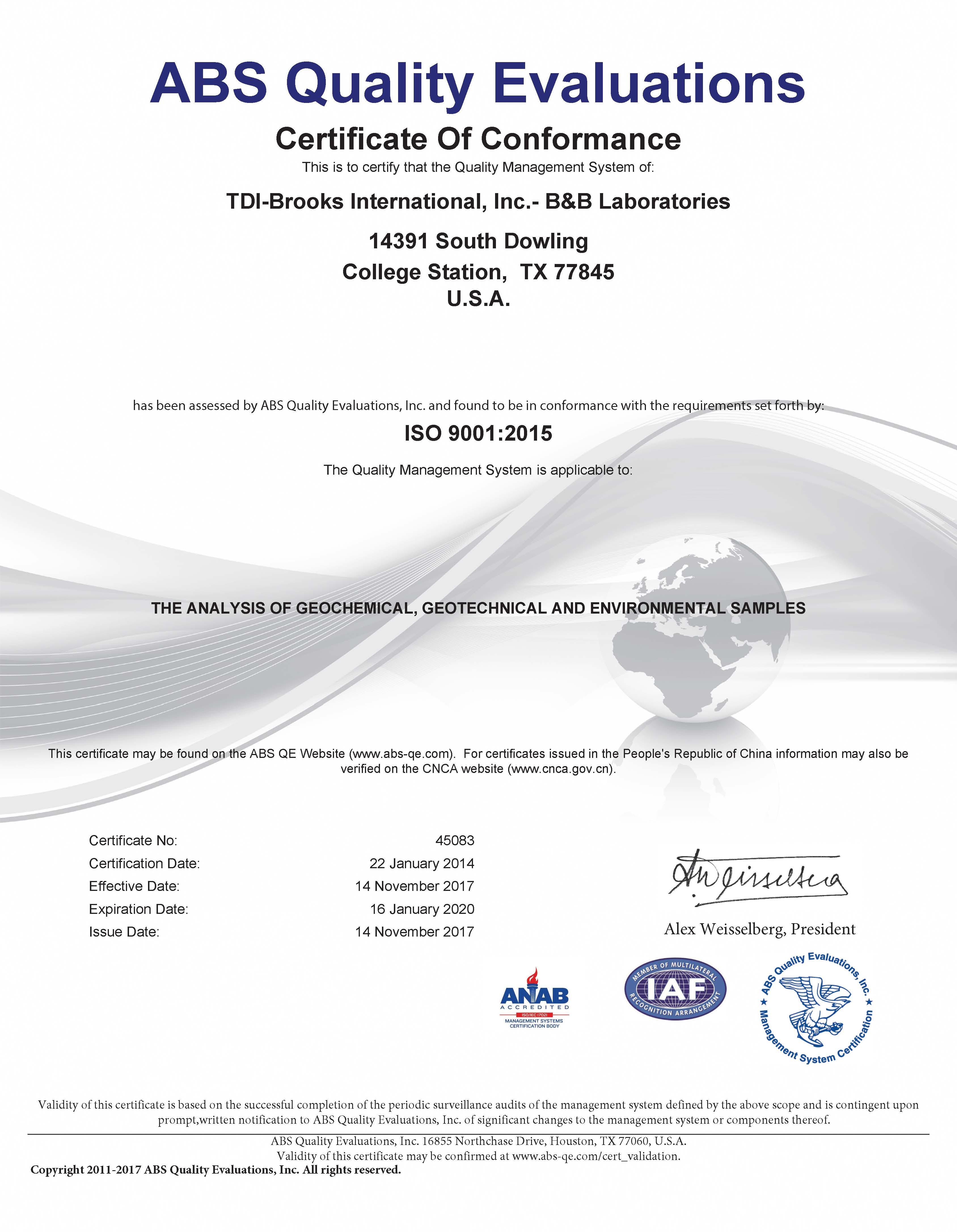 Bb Laboratories Awarded Iso 90012015 Certification Tdi Brooks