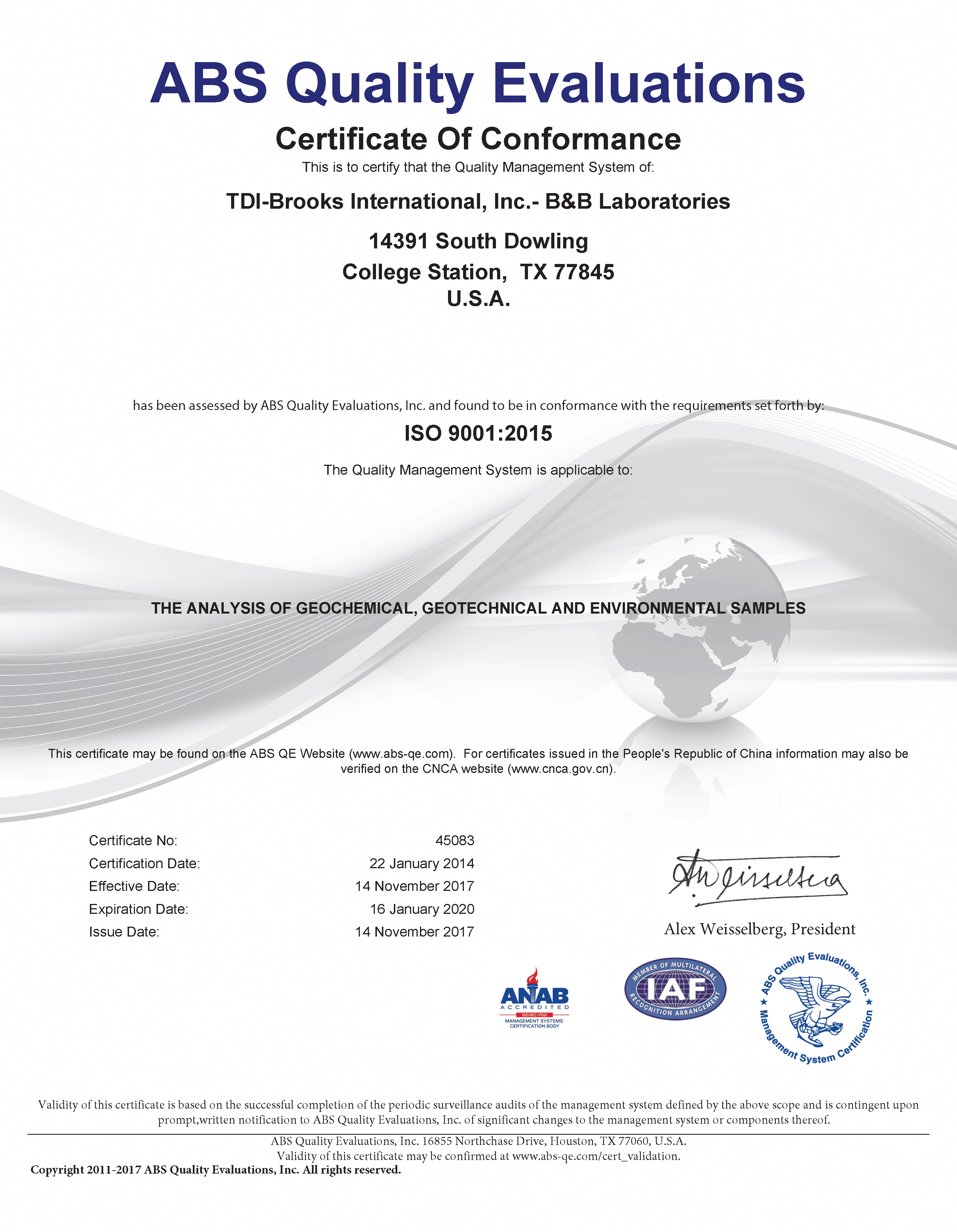 iso 17025 accredited laboratory list usa